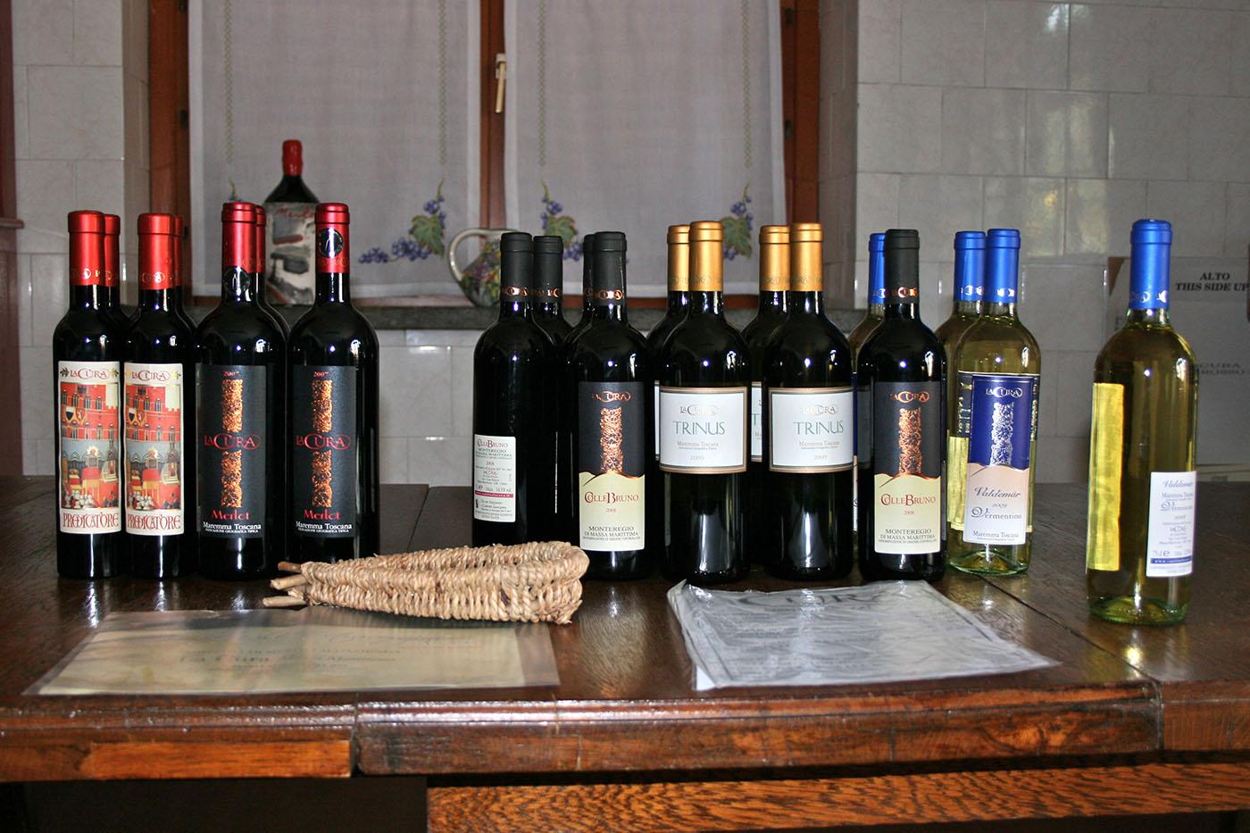 wines at La Cura